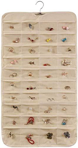 Organizador de joyas para colgar, organizador de doble cara, para armarios, pendientes, pulseras, collares, calcetines, medias, bolsa de almacenamiento (beige (80 bolsillos)) por Novinex