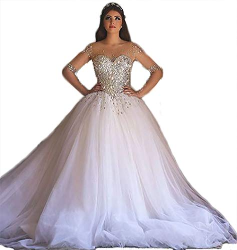 BelleAngel Women's Beaded Wedding Dress Sweetheart Sleeved Tulle Ball Gown Formal Prom Dress B096