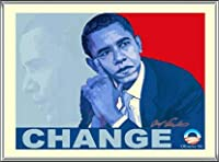 ポスター アームストロング Barack Obama change 額装品 アルミ製ハイグレードフレーム(シルバー)