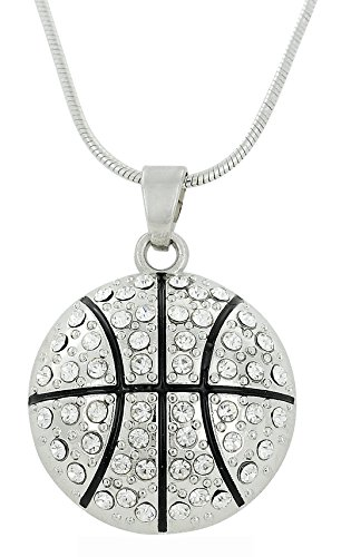 Lemegeton Basketball-Anhänger mit Kristall-Anhänger, Halskette, Sport-Fan-Schmuck