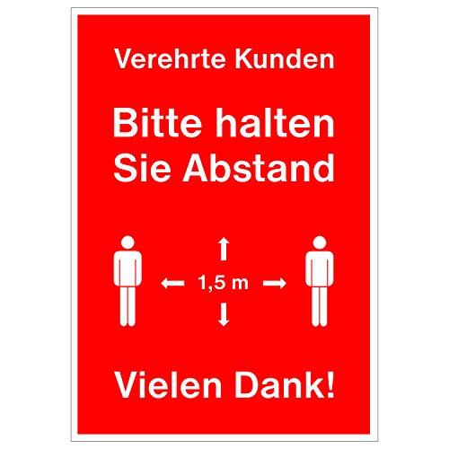 """Rahmenplakat für DIN A1 Rahmen""""Verehrte Kunden - Bitte halten Sie Abstand - Vielen Dank!"""" - Für Supermarkt, Apotheke, Bäcker etc. - Corona-Virus/Covid-19"""