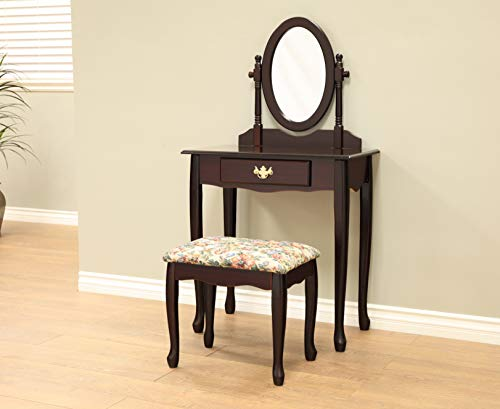 Frenchi Home Furnishing Twopiece Vanity Set with Queen Anne Design Rich