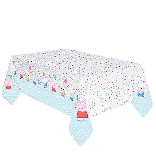Amscan 9906334 - Tovaglia Peppa Pig, in plastica, dimensioni 120 x 180 cm, compleanno per bambini