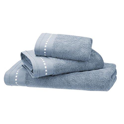 BLANC CERISE Serviette de Toilette Orage - Coton peigné 600 g/m² - brodée 050x100 cm