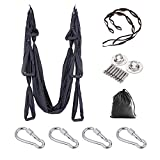 E ETERMTT Aerial Yoga Swing Set, Yoga Hammock, Trapeze Sling, Antigravity Ceiling Hanging Yoga Sling, Inversion Swing with Two Extender Hanging Straps (Black)
