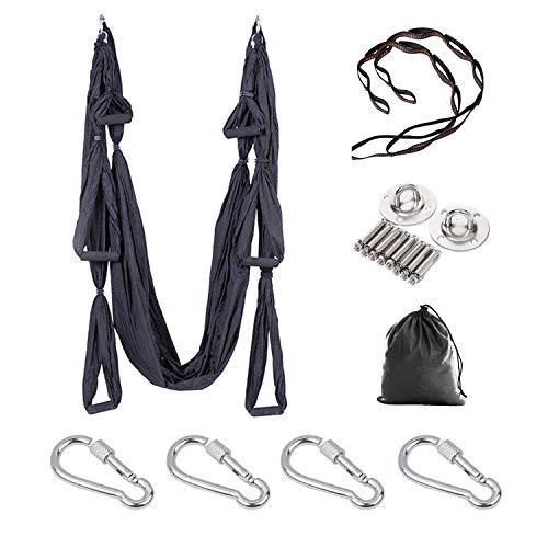 E ETERMTT Aerial Yoga Swing Set, Yoga Hammock, Trapeze Sling, Antigravity Ceiling Hanging Yoga Sling, Inversion Swing with Two Extender Hanging Straps (Black)