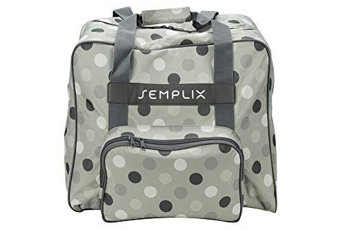 SEMPLIX Overlocktasche/Coverlocktasche Polka Dots, Groß, Stabil, für Transport/Aufbewahrung Aller gängiger Maschinen, Stein/Grau 44x38x33 cm
