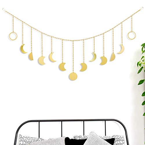 Moon Decor Wanddekoration – Goldfarbene Mondphasen Banner – Wandkunst Girlande mit Ketten Boho Wanddekoration Ornamente für Schlafzimmer Wohnzimmer Kinderzimmer Büro Zuhause (Gold, Metall 63