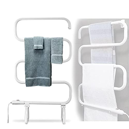 HBBY Toallero Electrico de Pie Bajo Consumo Eléctrico Toallero Escalera Baño con 5 Barras Práctico Mueble Radiador Toallero en Aleación de Aluminio(Size:Voltaje de la UE,Color:Blanco)