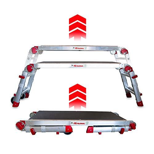 Faraone - Plataforma de Trabajo PLA.T - Plataforma Plegable - 147x53x19cm - Regulable en Altura - Plataforma con Ruedas - Amplio Plano de Trabajo - para Uso Profesional - Ligera y Robusta