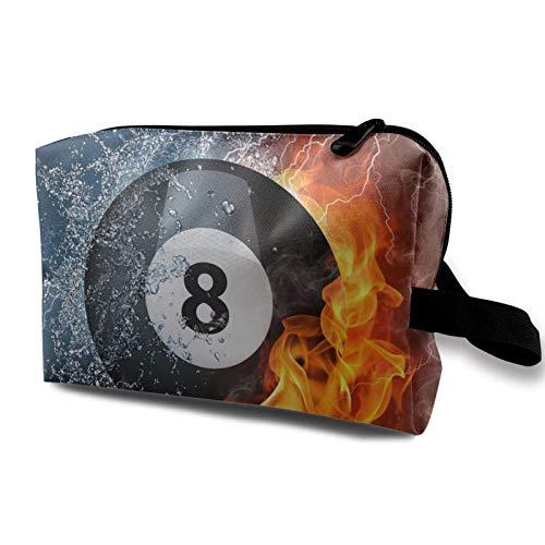 XCNGG Bolsas de aseo para hombres y mujeres Bolsas de maquillaje de viaje multifunción Bolso de mano Bola de billar de llama de fuego de agua