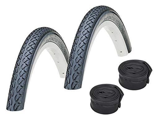 KENDA Set de 2 neumáticos K197 negro 37-622 (700 x 35C) de 28' + cámaras Continental Dunlopventil
