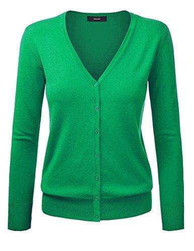 Cardigan básico con cierre de botones, para mujer Verde verde 44