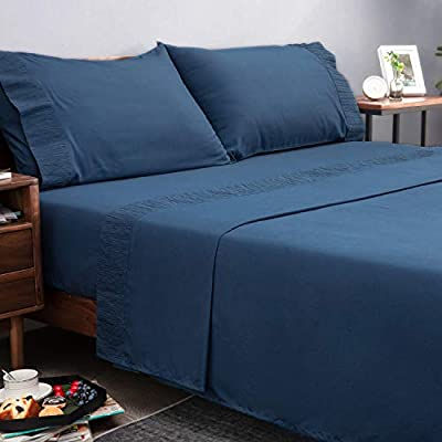 Bedsure Bed Sheet Set - Ruffled Embossed Navy Blue Bed Sheets - Soft Brushed Microfiber, Wrinkle Resistant Bedding Set - 1 Fitted Sheet, 1 Flat Sheet, 2 Pillowcases (Queen, Navy)