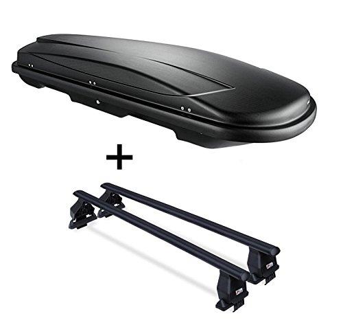 VDP Dachbox VDPJUXT400 400Ltr schwarz abschließbar + Dachträger Menabo TEMA kompatibel mit Nissan Qashqai J11 (5 Türer) ab 2017
