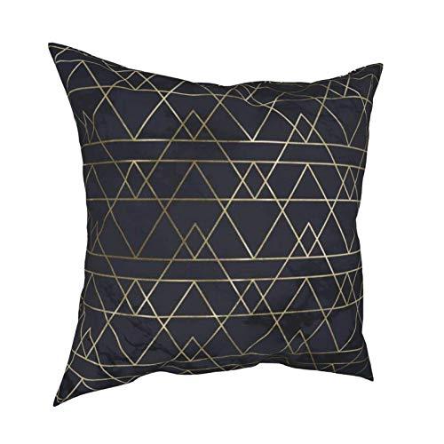WALL-8-CC - Funda de almohada decorativa para sofá, dormitorio, sala de estar, diseño de montañas geométricas de mármol y oro en azul marino
