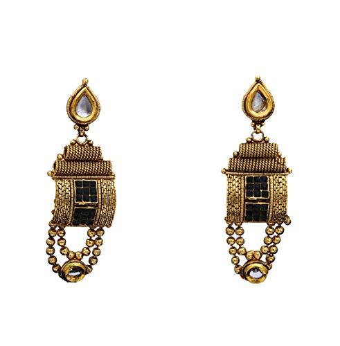 JewelryGift Pendientes Modish chapados en oro azul zafiro CZ bellamente hechos a mano joyería de diseñador étnico regalo para hermana esposa MYE 35-AZUL
