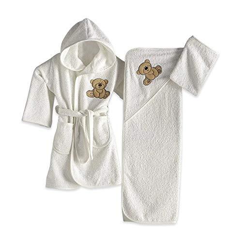 Juego de Albornoz para bebé de 100% algodón, 3 Piezas, para niños de 0 a 2 años (Blanco)