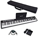 Dulcette 88-Key Portable Electric Piano Keyboard | Built-In Amplifying Speakers | Semi-Weighted Keys | Electronic Keyboard Piano MIDI/USB | Bluetooth | FREE CARRYING BAG | (DC-11) (Black)