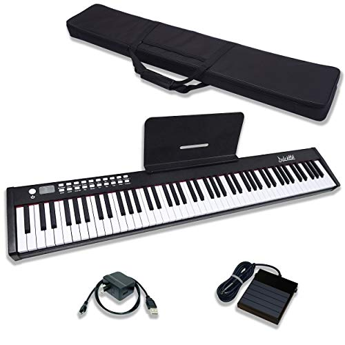 Dulcette DC11 88-Key Portable Piano Keyboard | Built-In Amplifying Speakers | Semi-Weighted Keys | Sustain Pedal & Power Supply MIDI/USB | Electric Keyboard Piano 88-Keys | FREE CARRYING BAG (Black)