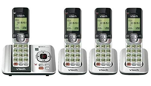 VTech CS6529-4 DECT 6.0 Phone Answering System with Caller ID/Call Waiting, 4 Cordless Handsets, Silver/Black