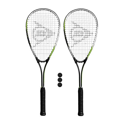 Dunlop Biotec Ti Squashschläger (Verschiedene Optionen) (2 x Squashschläger + 3 Squashbälle)