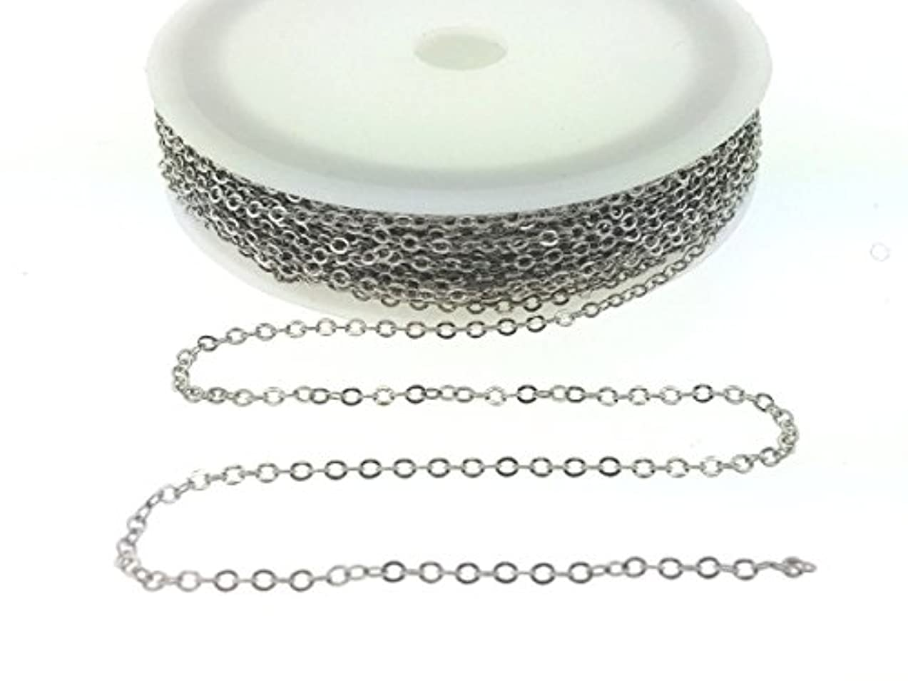 BeadsAndCrafts 32 Feet Pack, 7 Colors Available, Small Link Chain 2.1x1.7mm Dangling Chain, Antique Silver Plated Brass