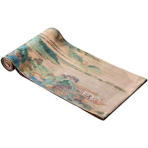 Classical Hand-Painted Exquisite Waterproof Linen Table Runner, Used 200x30cm