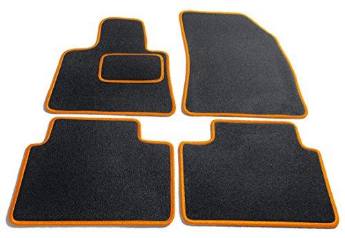 JediMats 40300Korfu–Felpudo (a Medida para su Auto, Color Negro/Naranja