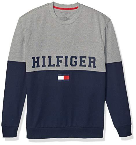 Tommy Hilfiger Men's Modern Essentials French Terry Sweatshirt, Grey Heather/Hilfiger Color Block, S