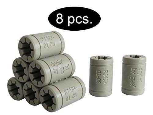 Igus LM8UU Replacement Bearings for RepRap, Mendel, Anet A6, A8, Prusa 3D Printer, Anet A6 LM8LU Ersatz, 8 x RJ4JP-01-08 (Igus DryLin), 1