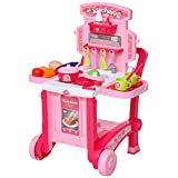 HOMCOM Kinderküche mit Zubehör, 42-teilige Spielküche, Spielzeugküche, Kunststoff, Weiß+Rosa, 59,7 x 47 x 42,5 cm