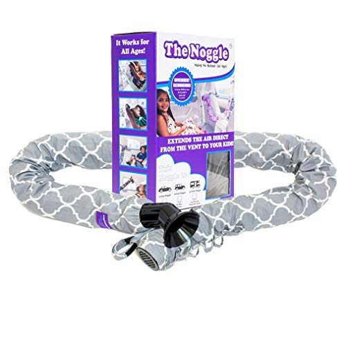 The Noggle-Making The Backseat Cool Again-Quick & Easy to Use Car Travel Accessories for a Comfy Ride Summer or Winter-Air Vent Extender Hose Directs Cool or Warm Air to Your Kids-8ft, Grey Quatrefoil