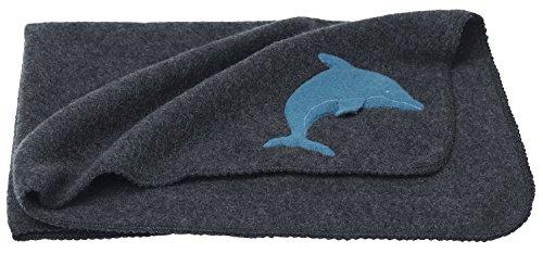 Reiff Babydecke Fleecewickeltuch mit Delphin 100% Schurwolle