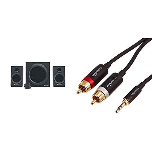 Logitech Z333 Multimedia Speakers - Lautsprecher für Home Entertainment (mit 80Watt und Subwoofer) schwarz & Amazon Basics PBH-19823 Cinch-Audiokabel, 3,5-mm-Klinkenstecker auf 2 x Cinch-Stecker