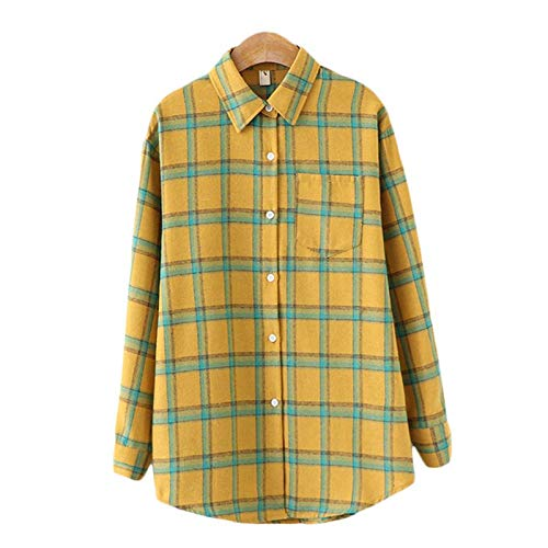 AKlamater KKSH Damen Plaid Shirt Chic Karierte Bluse Langarm Weibliche Casual Print...
