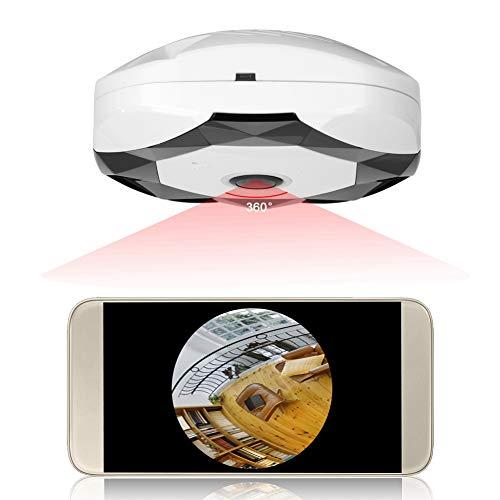 960P IP-Kamera, WLAN 360 Grad Überwachungskamera 360° Panoramakamera mit Bewegungserkennung, Zwei-Wege-Audio, IR-Cut Nachtsicht Sicherheitssystem, Unterstützung 2,4GHz WiFi, Mobile App Fernbedienung