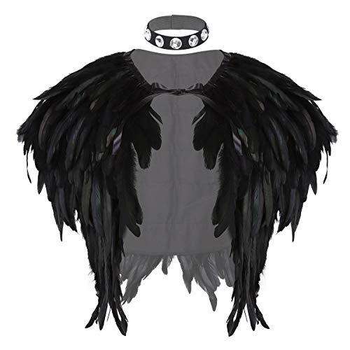 inlzdz Echtes Natürliches Feder Umhang mit Halsband Punk Gothic Damen Federn Weste Cape Stola Schal Wrap Karneval Fasching Kostüm Accessoires Schwarz One Size