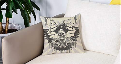 Square Soft and Cozy Pillow Covers,Pirata, antiguo barco de fragata abstracto barco de vela rosas y pistolas calavera pirata vinta,Funda para Decorar Sofá Dormitorio Decoración Funda de almohada.