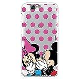 Funda para Huawei Ascend G7 Oficial de Clásicos Disney Mickey y Minnie Lunares Rosas para Proteger tu móvil. Carcasa para Huawei con Licencia Oficial de Disney.