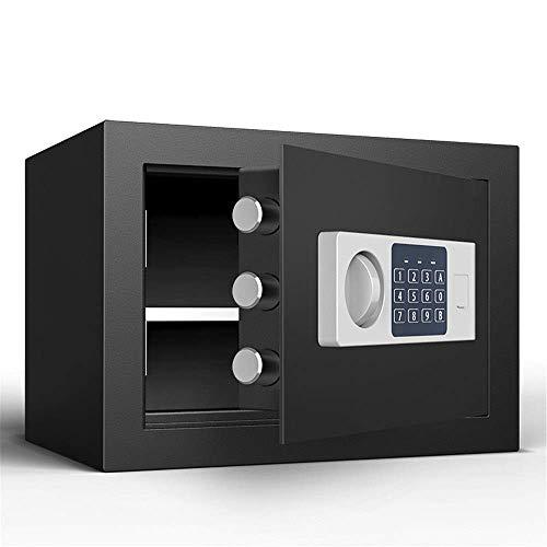 GAXQFEI Seguridad Safe Box Safe Hotel Mini Electronic Home Security Seguridad Seguridad de Contraseña 25 cm Oficinas de Seguridad Antirrobo de Acero Alto Cama de la Casa Fácil de Instalar,Negro,25 *