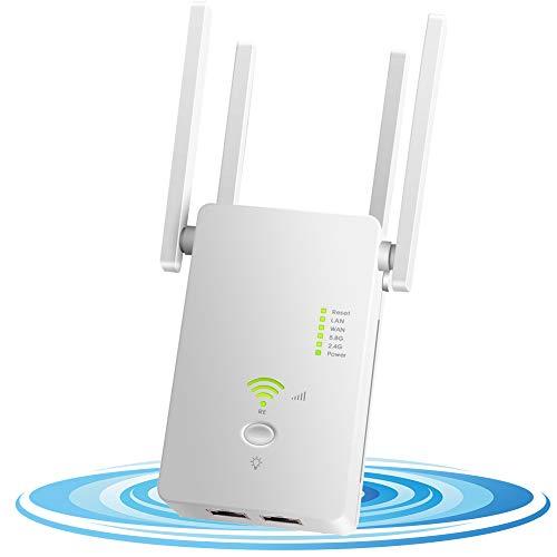 DCUKPST Repetidor WiFi 1200Mbps, Amplificador Señal WiFi 5G & 2.4G Extensor de Red WiFi Largo Alcance con Ap/Repeater/Router Modos, 4 Antenas Cobertura de Señal, 2 Puerto LAN/WAN, WPS