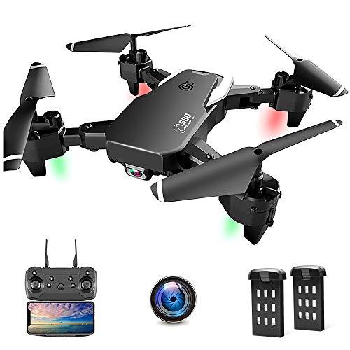 Drone con Telecamera, Droni per Principianti, 1080P HD Pieghevole Drone con WiFi FPV, 30 Minuti di Volo (2 Akku), Headless Mode, modalità Hovering, 3D
