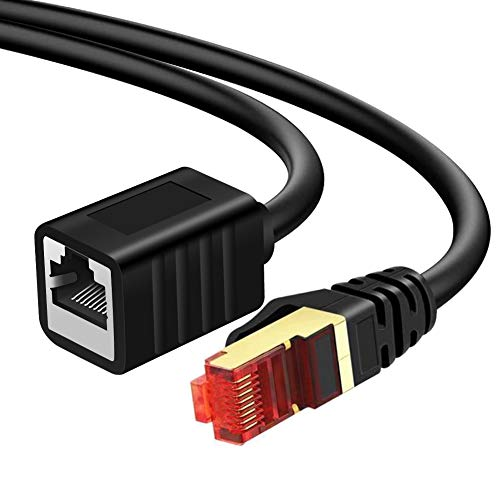 Yeung Qee - Cable alargador Ethernet (20 m, cable de red blindado Cat7, cable RJ45, conectores blindados macho a hembra, 20 m)