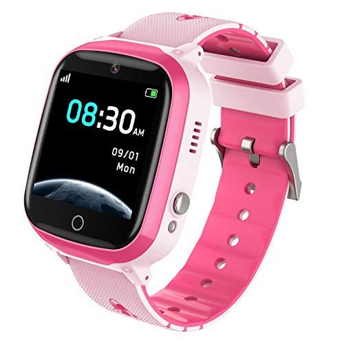 INIUPO Reloj Inteligente para niños niñas Reloj del teléfono Ver con cámara de Juego de música para Regalos de cumpleaños para niños (Rosa)