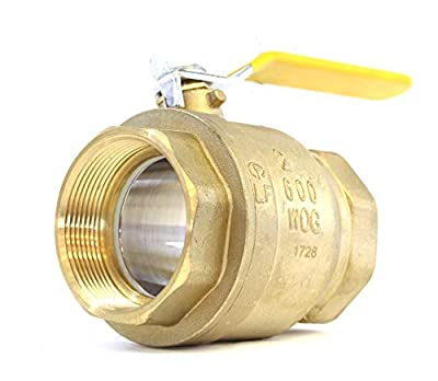 "2"" Brass Ball Valve Threaded - IPS Full Port Irrigation Water Valves - Mechanical Lead Free Vinyl Lever Handle 2-Inch Female Thread Inline Steam Oil 600 WOG Supplies Hot Cold Pipes CSA from Charman Manufacturing"