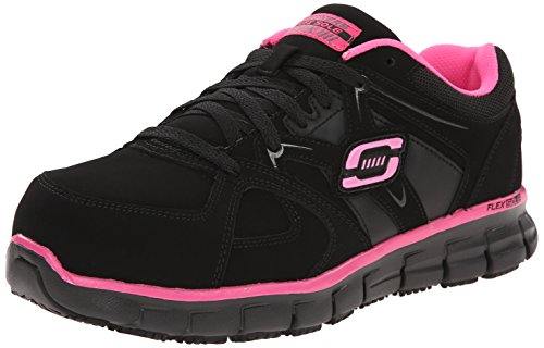 Skechers for Work Women's Synergy Sandlot Lace-Up, Black/Pink, 6.5 XW US
