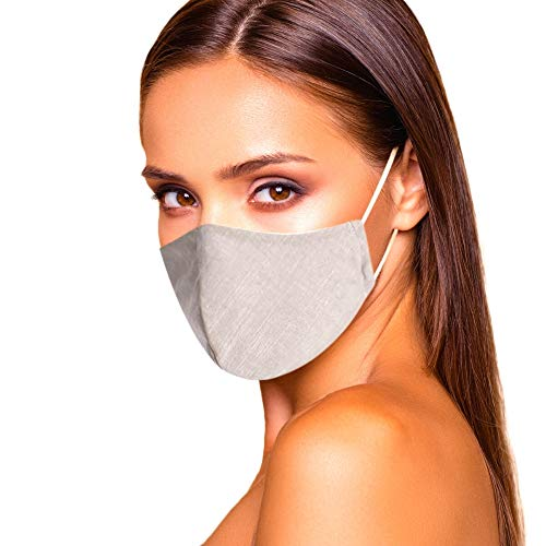 Cloth Face Mask Washable with Filter Pocket - Fashionable Designs For Women are Washable, Breathable and Reusable - Soft Cotton Blend for Comfortable Protective Covering - Made in USA (Sand)
