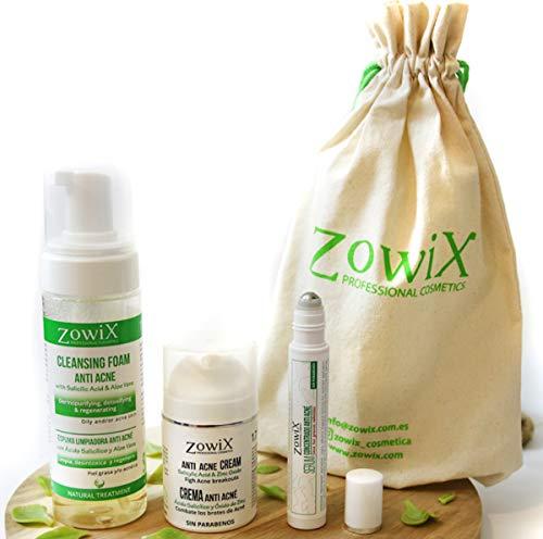 ZOWIX Antiacne, Granos y Espinillas. Pack de Espuma, Crema y Serum. Kit de Cosmetica Natural. Regalo original especial belleza. Lote ideal para veganos. Sin parabenos