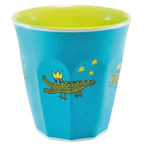 Les Trésors De Lily [R0622 - Gobelet mélamine 'Saperlipopette' Bleu Vert (Crocodile) - 7.5x7.5 cm
